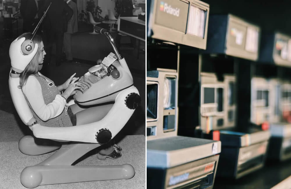 Sumlock adding machine 1971 Mike Lawn/Fox Photos/Getty Images | Polaroid @Marc Mueller/Unsplash