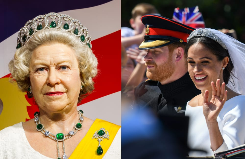 Queen Elizabeth II @NikomMaelao Production Meghan Markle @BartLenoir / Shutterstock.com