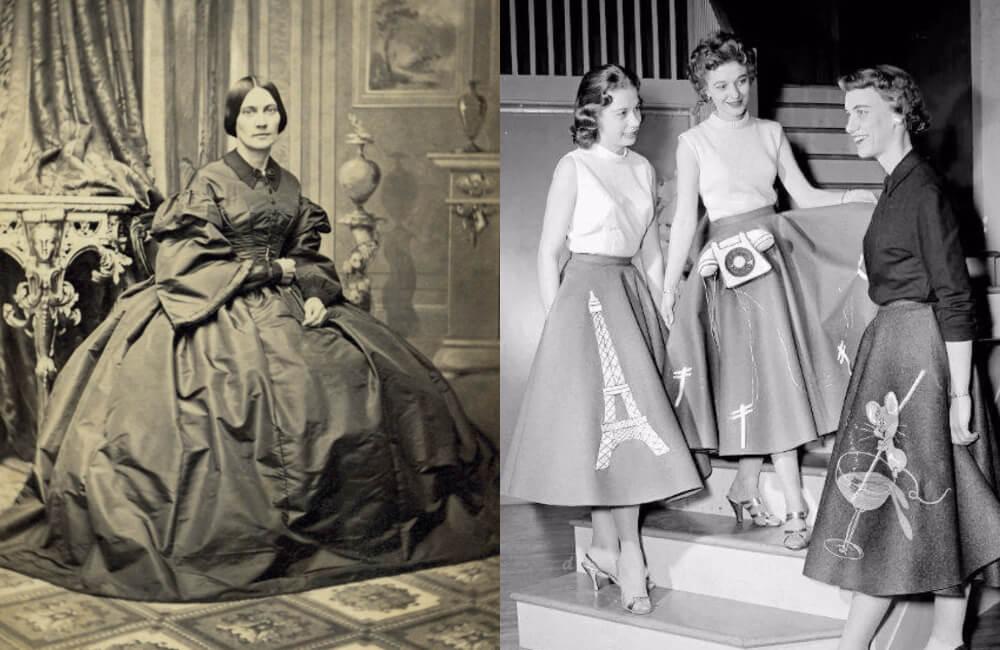 Hoop Skirt 1862 ©Donna Beeler | Poodle Skirts 1950s @sockhop/Pinterest