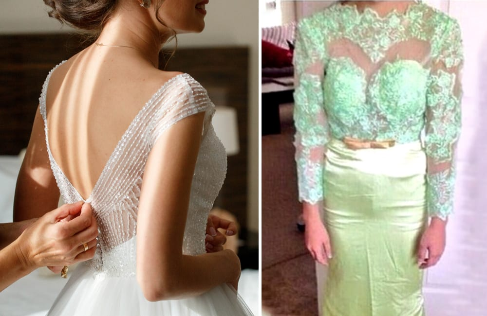 Wedding Dress © Nikolay Mint / Shutterstock.com | Actual Wedding Dress @ikmdresses / Twitter.com