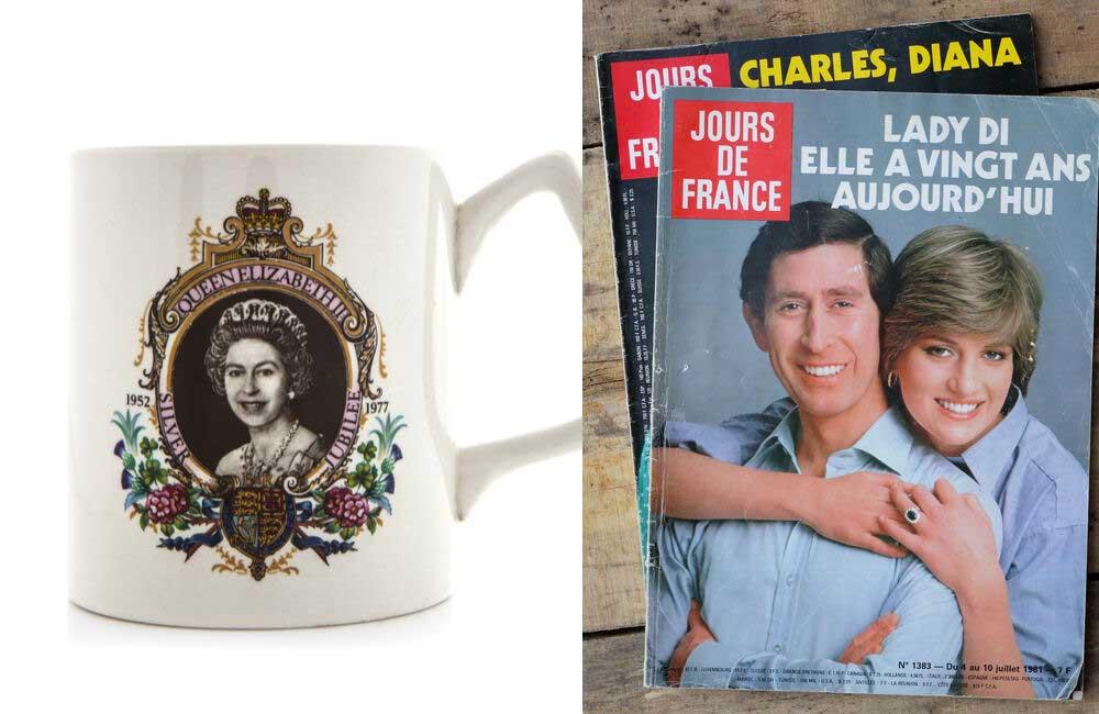 Queen Elizabeth II Mug © urbanbuzz   Princess Diana and Prince Charles Magazine © emka74 / Shutterstock.com