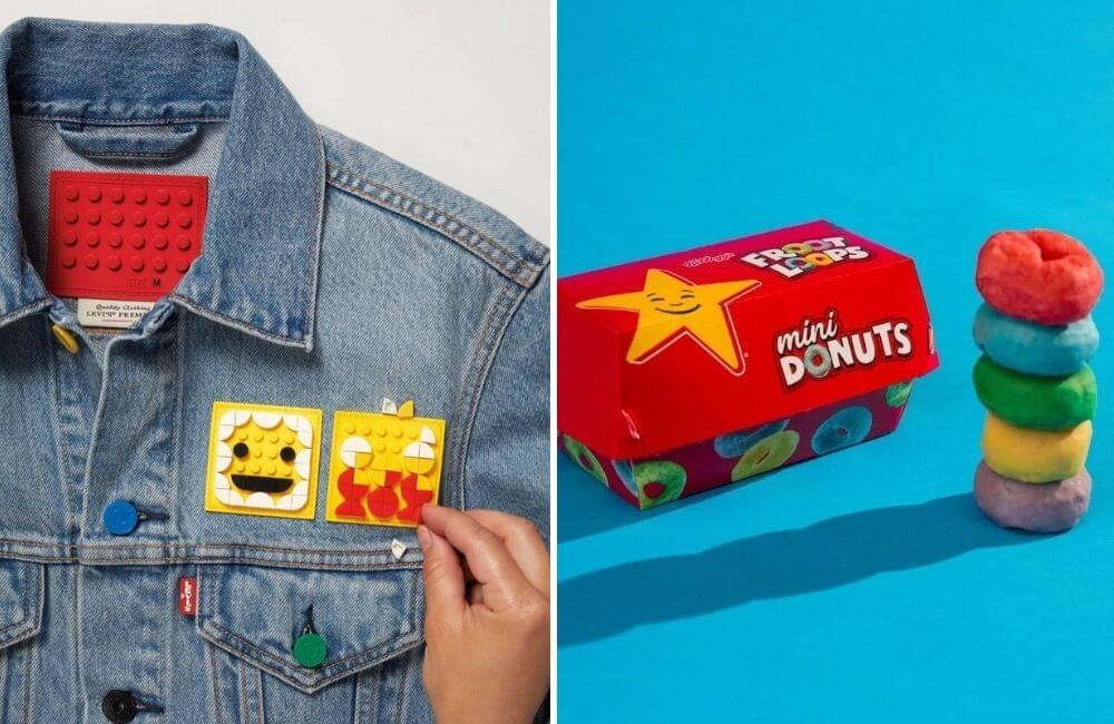 Lego and Levi's @orianaibarrola/Pinterest.com | Carl's Jr x Fruit Loops @CarlsJr/Twitter