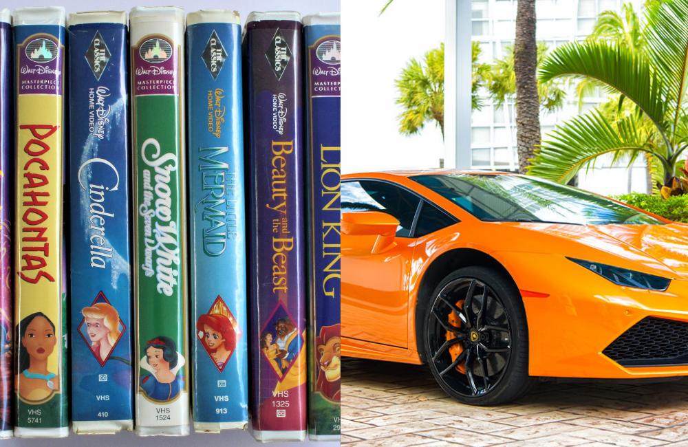 Disney VHS Tapes @Blueee77 / Shutterstock.com, Lamborghini Aventador @Just dance / Shutterstock.com