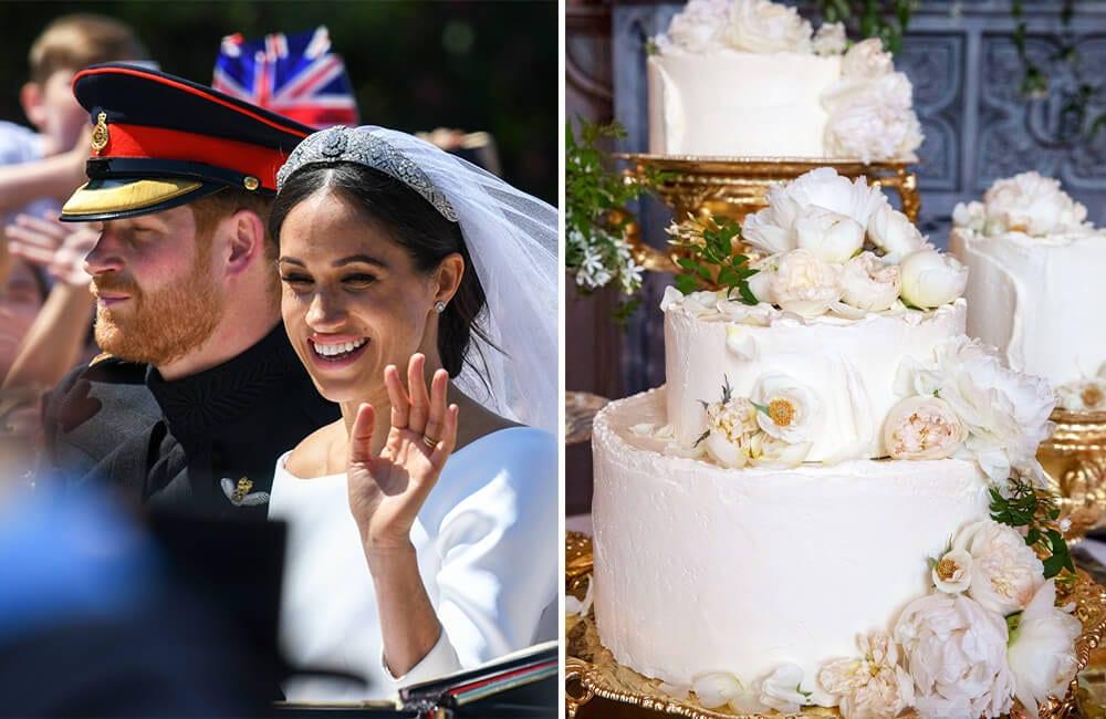Prince Harry and Meghan Markle @BartLenoir / Shutterstock.com   Wedding Cake @Ladyteapots / Twitter.com