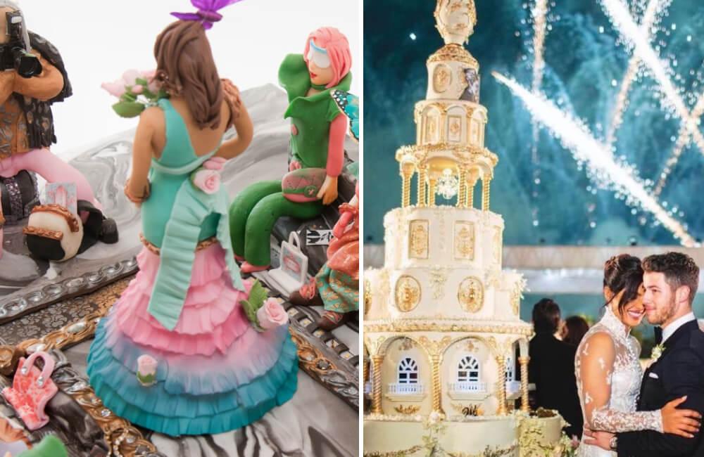 Debbie Wingham's Runway Cake @debbie_wingham/Instagram   Jonas Wedding Cake @ETCBollywood/Twitter